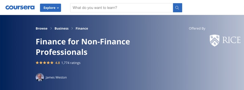 Image Best Personal Finance Courses - Coursera - Finance for Non-Finance Professionals