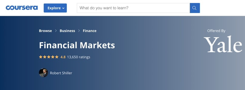 Image Best Personal Finance Courses - Coursera- Financial Markets