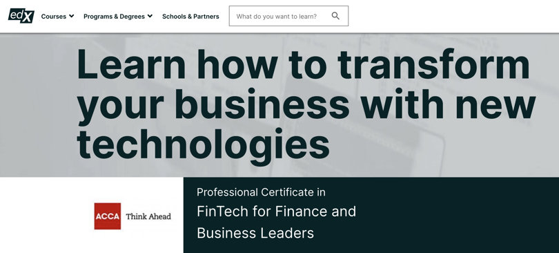 Image Fintech Courses - FinTech for Finance and Business Leaders, ACCA, edX