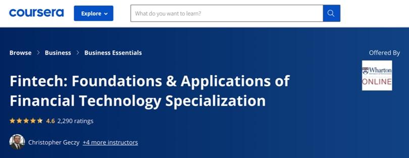 Image Best Fintech Courses - Fintech Foundations, Wharton, Coursera