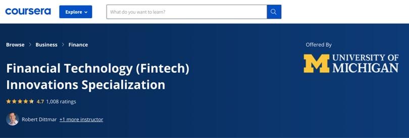 Image Fintech Courses - FinTech Innovations, University of Michigan, Coursera