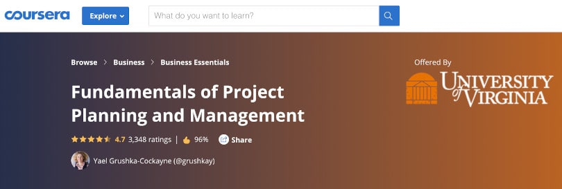 Image Project Management Courses - Fundamentals project planning - Coursera