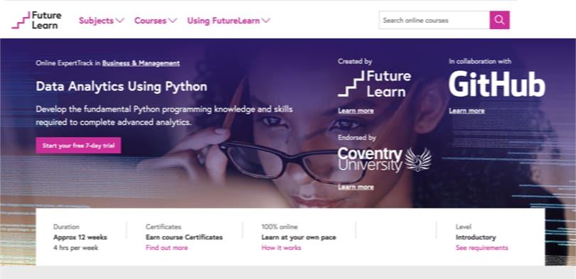Image Best FutureLearn Courses - Data Analytics Using Python