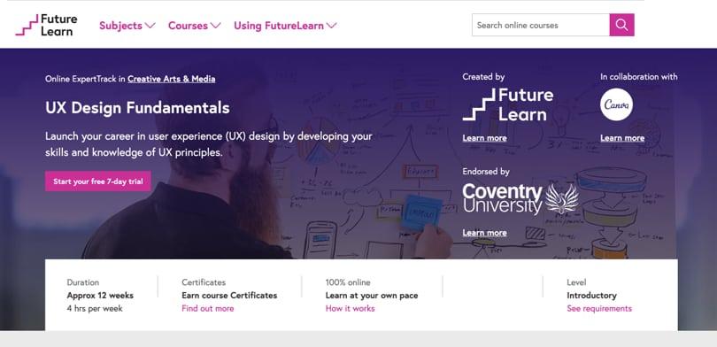 Image Best FutureLearn Courses - UX Design Fundamentals