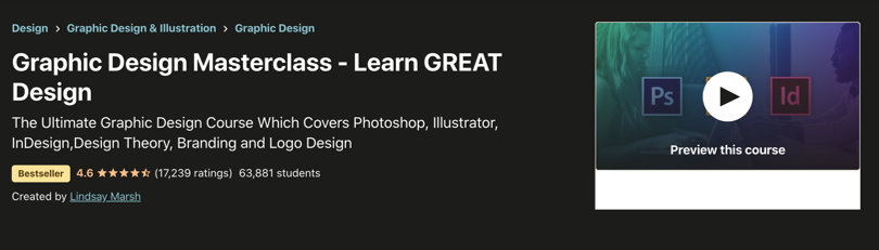 Image Best Graphic Design Courses - Udemy - Graphic Design Masterclass