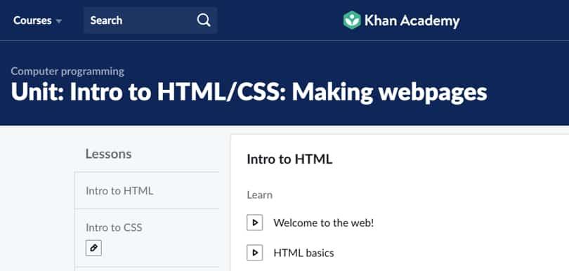 Image Best HTM & CSS Courses - Khan Academy