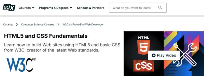 Image Best HTM & CSS Courses - W3C edX