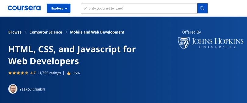 Image Best HTML & CSS Courses - For Web developers, Coursera