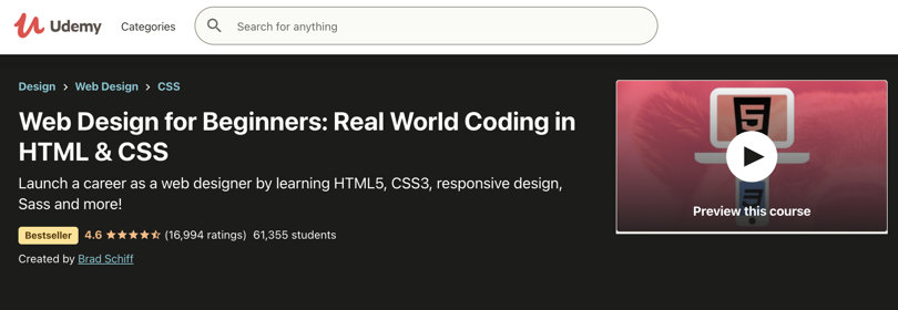Image HTML & CSS Courses - Webdesign in HTML, CSS, Udemy