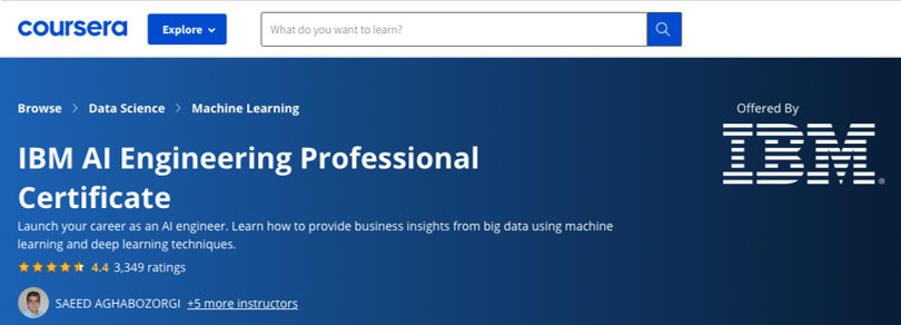 Image Best AI Courses - IBM AI Engineering Professional Certificate, Coursera