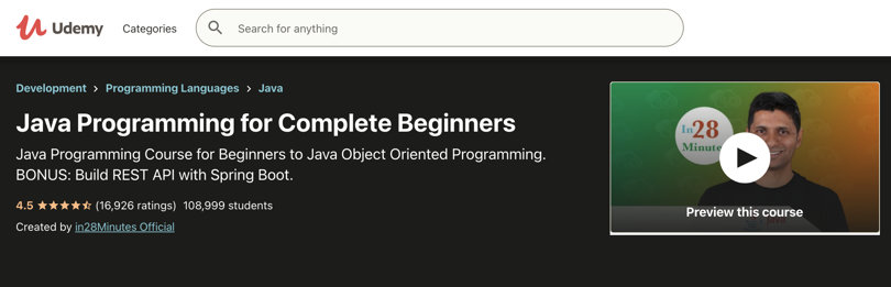 Image Java Courses Online - Java Programming Complete Beginners, Udemy