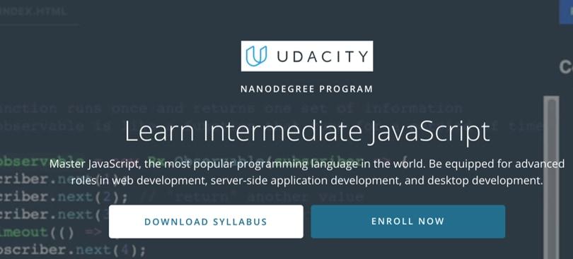 Image Javascript Courses - Learn Intermediate JS, Udacity