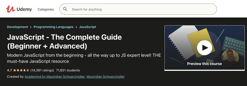 Image Javascript Courses - JS The Complete Guide, Udemy