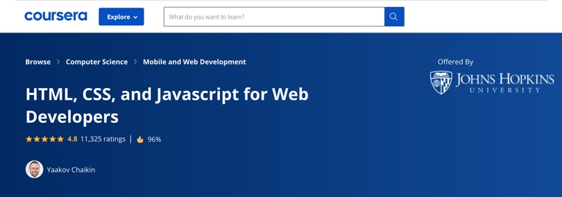 Image Javascript Courses - HTML, CSS, JS for Web Developers, Coursera