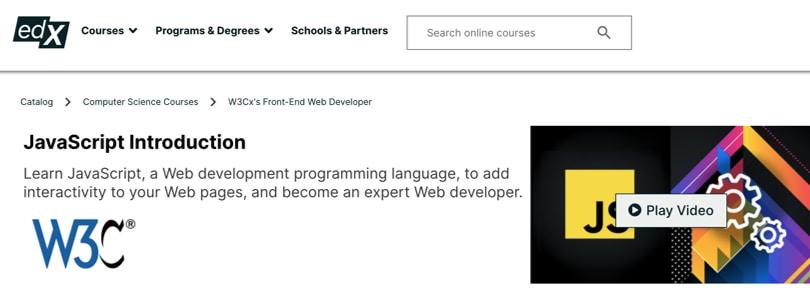 Image Javascript Courses - Introduction JS, W3C, edX