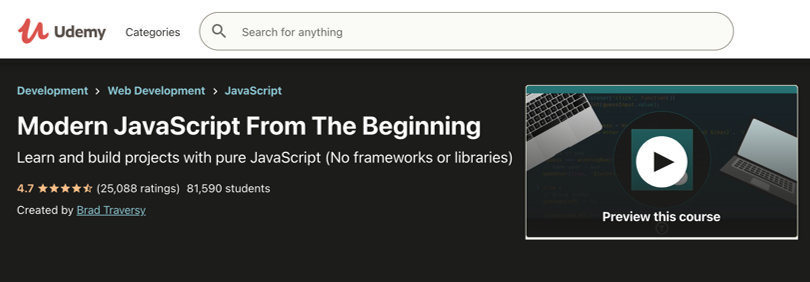 Image Javascript Courses - Modern JS from The Beginning, Udemy