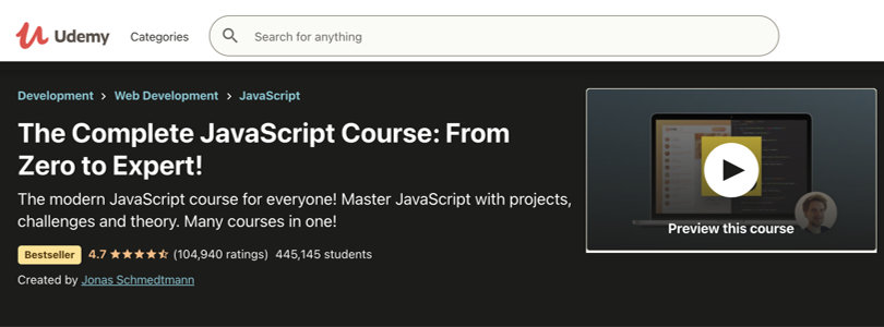 Image Javascript Courses - Complete JS, From Zero to Expert, Udemy