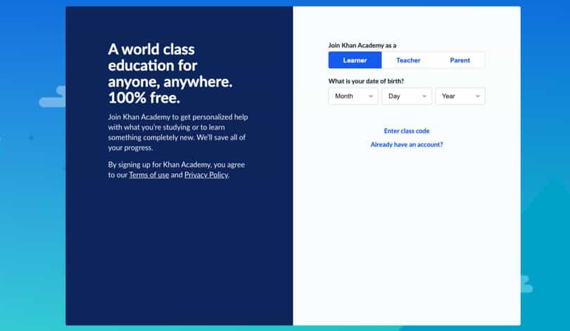 Image Khan Academy Review - Screenshot - Sign-up Form