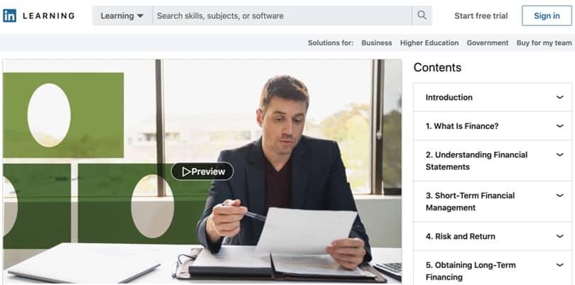 Image Personal Finance Courses - LinkedIn - Finance Foundations