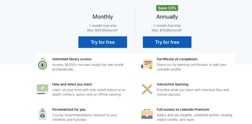 Image LinkedIn Learning Review - Overview Premium Benefits