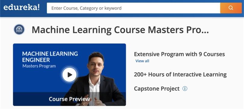 Image Machine Learning Courses Online - Machine Learning Engineer Masters, edureka