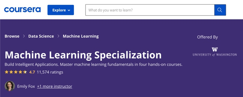 Image Machine Learning Courses Online - Machine Learning Specialization, Coursera