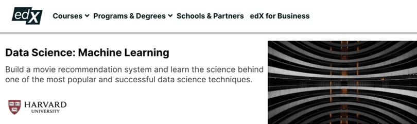 Image Machine Learning Courses Online - Machine Learning, Harvard University, edX