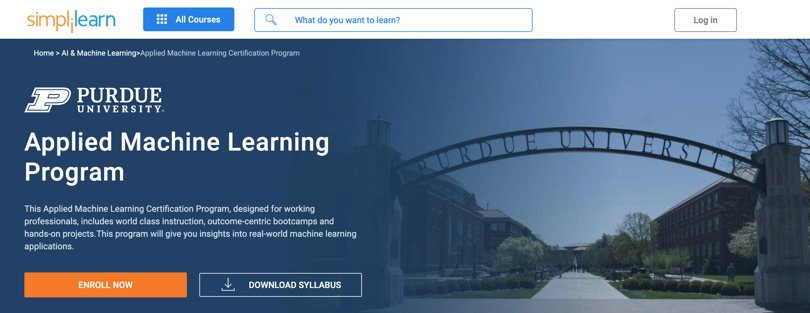 Image Machine Learning Courses Online - Machine Learning, Purdue University, Simplilearn