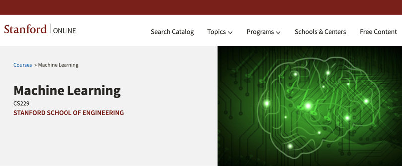 Image Machine Learning Courses Online - Machine Learning, Stanford School of Engineering