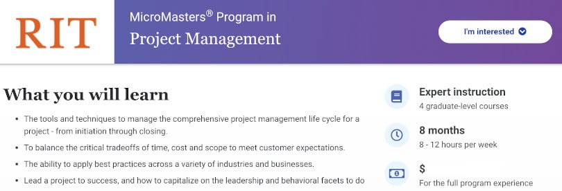 Image Project Management Courses - RIT MicroMasters PM edX