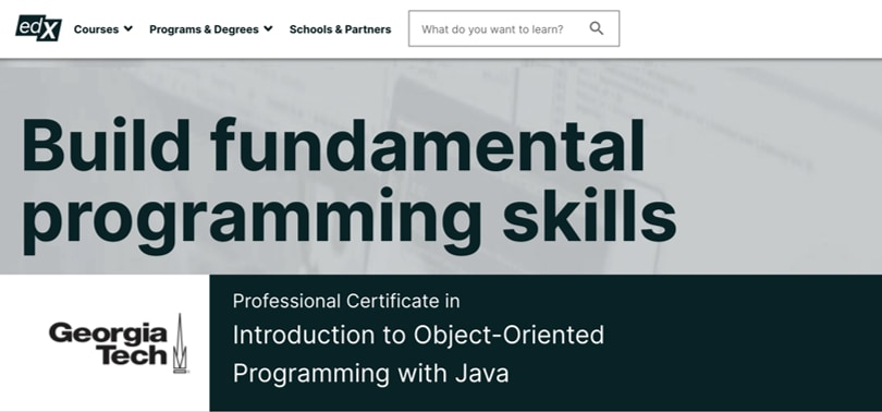 Image Java Courses Online - OOP Java Programming, edx