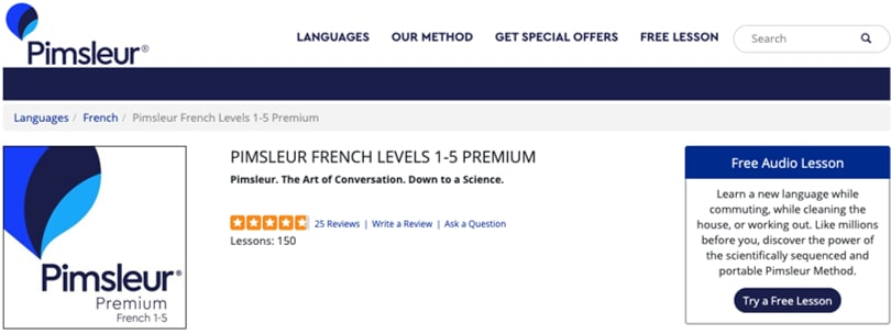 Image Pimsleur French Courses Online