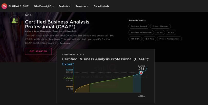 Image Business Analytics Courses - Pluralsight Business Analysis Professional Certificate - CBAP