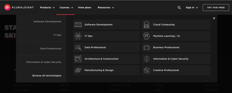 Image Pluralsight Review - Screenshot Browsing Categories