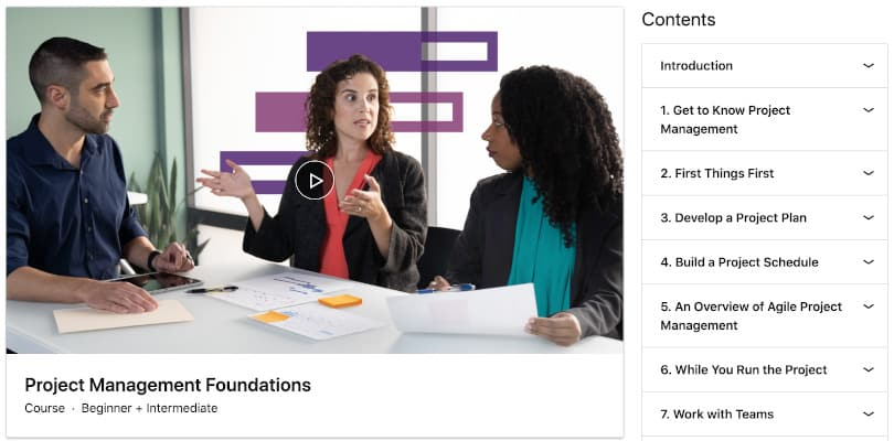 Image Project Management Courses - PM Foundations Linkedin
