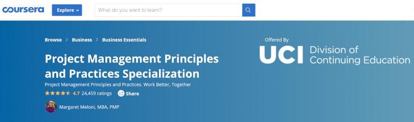Image Project Management Courses - PM Principles -Specialization - Coursera