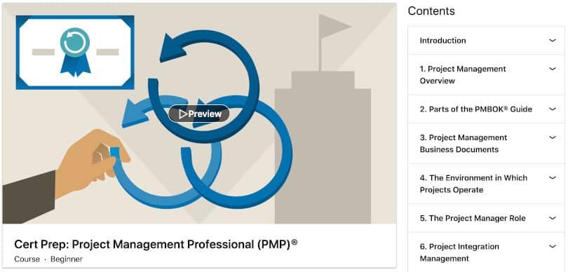 Image Project Management Courses - PMP Cert Prep Linkedin