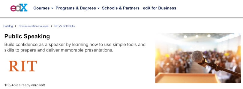 Image of Best Public Speaking Courses edX - Public Speaking RIT