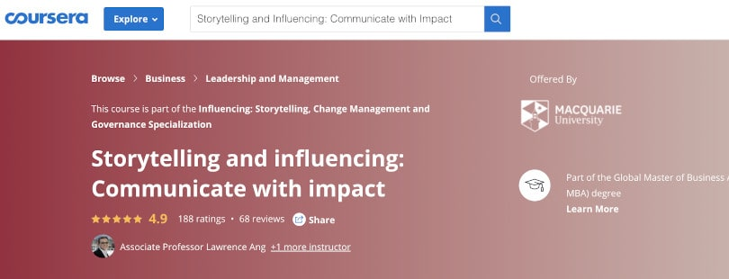 Image of Best Public Speaking Courses Coursera - Storytelling and Influencing