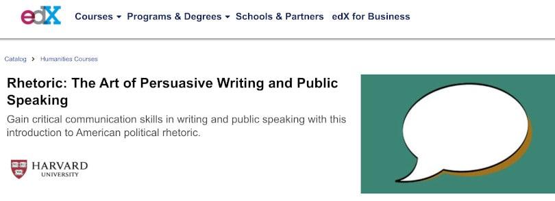 Image of Best Public Speaking Courses edX - Rhetoric Harvard