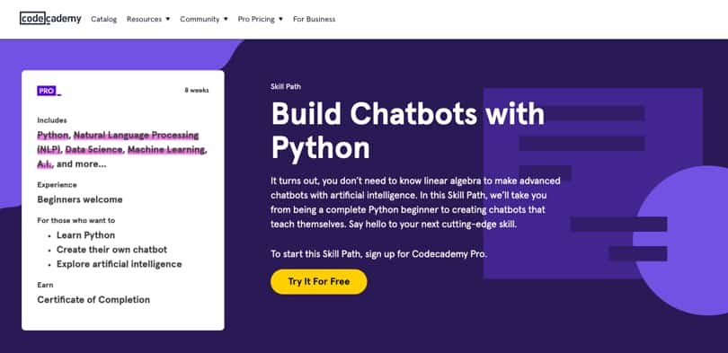Image Python Courses - Build Chatbots, codecademy
