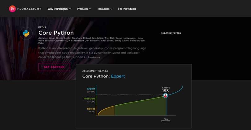 Image Python Courses - Core Python, Pluralsight Track