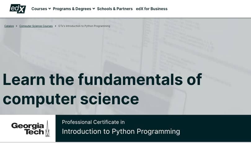 Image Python Courses - Intro to Python Programming, edX