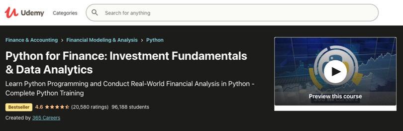 Image Python Courses - Python for Finance, Udemy