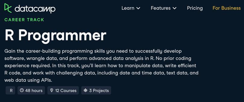 Image R Courses Online - R-Programmer Track, DataCamp