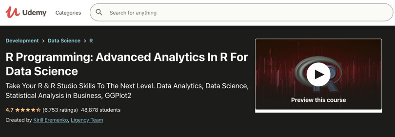 Image R Courses Online - R Programming Analytics, Udemy