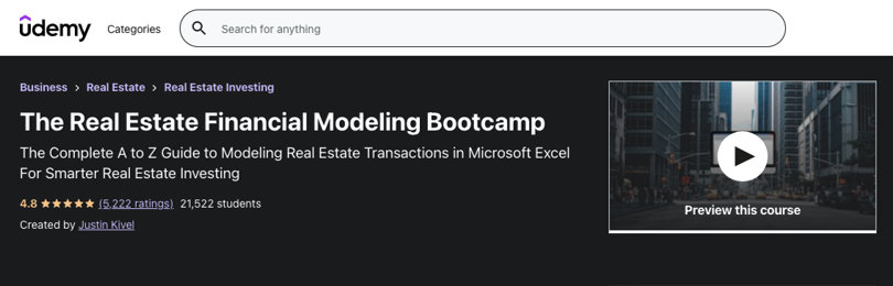 Image Real Estate Courses - Real Estate Financial Modeling Bootcamp, Udemy