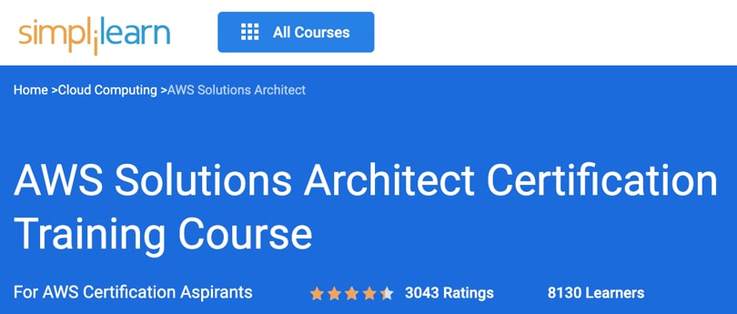 Image Best Simplilearn Courses - AWS Solutions Architect Certification Training