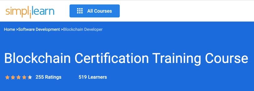 Image Best Simplilearn Courses - Blockchain Certification Training