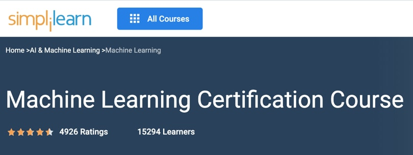 Image Best Simplilearn Courses - Machine Learning Certification